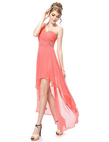 Coral, 6US, Ever Pretty Hi-lo Prom Dresses For Juniors 08100