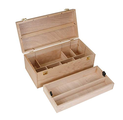 XXL Utensilienkoffer, Malkoffer, Malbox, Pinsel Schatulle Holz