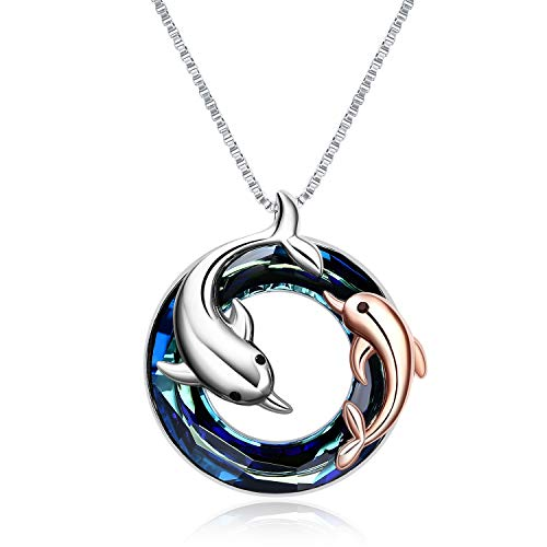 ONEFINITY Dolphin Necklaces Sterling Silver Crystal Dolphin Pendant Ocean Jewelry Necklace for Women