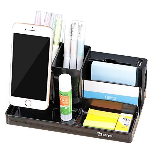 Schreibtisch-organizer Mit Handyhalter,multifunktionale Office Storage Box Kunststoff Büro Stift Halter Box Mit Usb-anschluss A-2 21 * 12.5 * 9cm