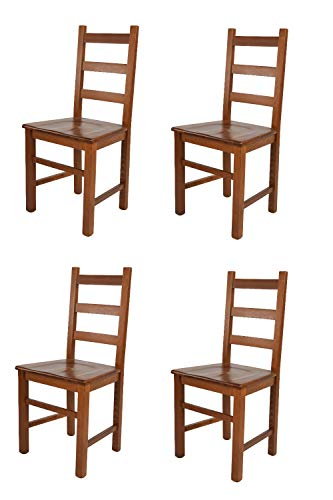 t m c s Tommychairs - Set 4 sillas Rustica para Cocina y Comedor, Estructura en Madera de Haya Color Nogal Claro y Asiento en Madera