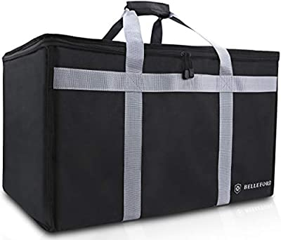 """BELLEFORD Insulated Food Delivery Bag XXL - 23x14x15"""" Waterproof Grocery Storage [Warm & Cool] - Buffet Server, Warming Tray, Lunch Container Store"""