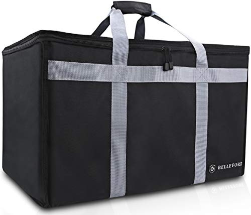 "BELLEFORD Insulated Food Delivery Bag XXL - 23x14x15"" Waterproof Grocery Storage [Warm & Cool] - Buffet Server, Warming Tray, Lunch Container Store - Pizza Box, Chafing Dish & Casserole Carrying Case"