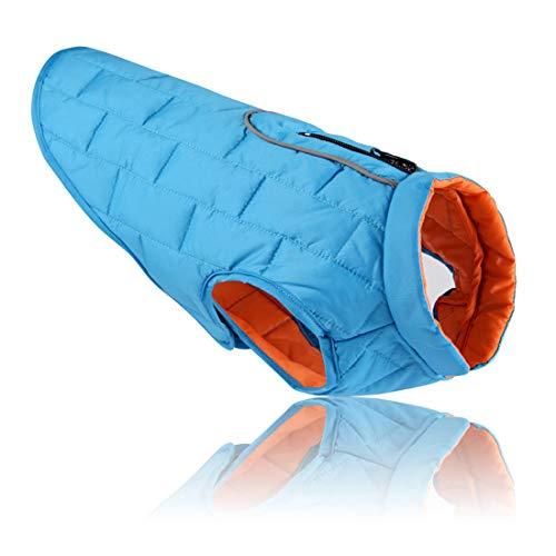 Outdoor jas voor kleine middelgrote en grote honden gewatteerde jas waterdicht gewatteerd vest reflecterende winterjas comfortabel verstelbare gilet donzen hondenmantel, Large, blauw + oranje.