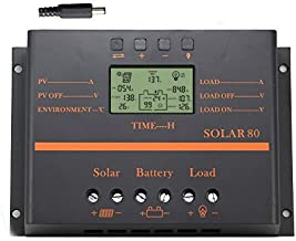 80A Solar Charge Controller, 12V 24V System 1920W Solar Power PWM Charge Controller
