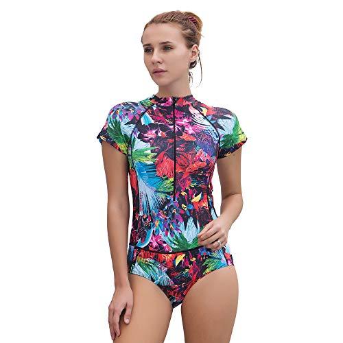 Foclassy Damen-Badeanzug, für Sport, Einteiler, Push-Up-Badeanzug, athletisch 10122 Gr. 38/40 EU/XL, 10122 Kurz, Violett