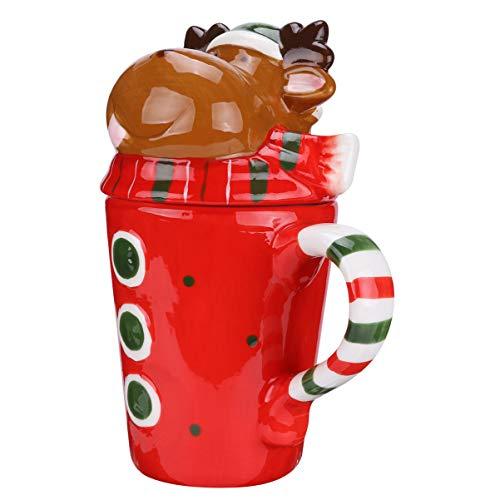 Amosfun - Tazza natalizia in ceramica, motivo: renna, tazza da caffè