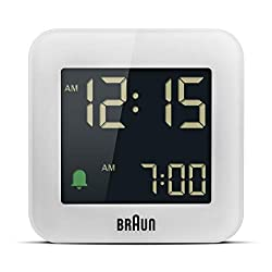 Braun Digital Travel Alarm Clock with Snooze, Compact Size, Negative LCD Display, Quick Set,Crescendo Beep Alarm in White, Model BC08W.