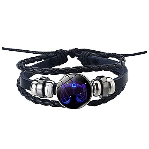 GANBADIE - Pulsera de piel para hombre y mujer, con cuerda de cuero, 12 constelación, pulsera de cuerda trenzada ajustable vintage