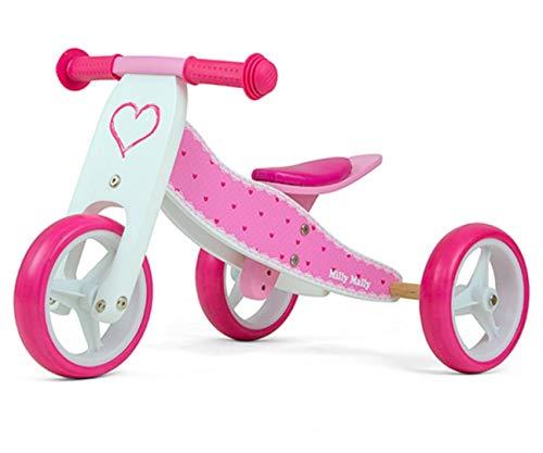 JAKE bicicletta 2 in 1 tre ruote e bicicletta a spinta in legno, giocattolo a spinta per bambini con ruote in gomma, Modello:Jake Hearts