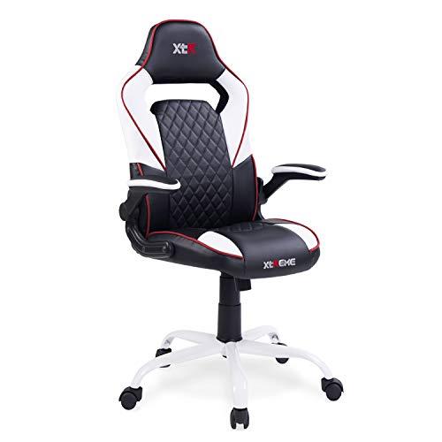 Adec - XTR X20, Silla de oficina gaming, silla de despacho, escritorio o estudio, sillón acabado en símil piel color Negro y Blanco, medidas: medidas: 60 cm (ancho) x 50 cm (fondo) x 122-132 cm (alto)
