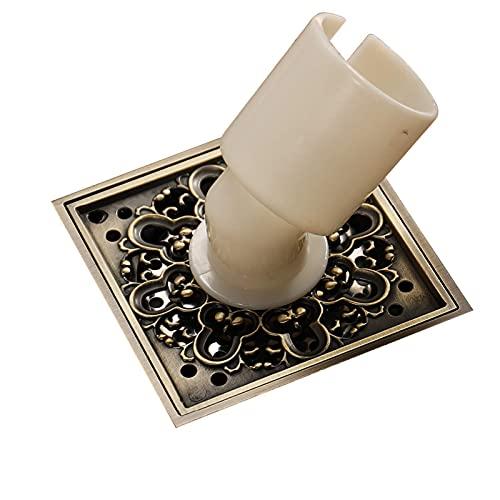 XYSQWZ Desagüe de Piso Cuadrado, 100x100 mm (4 Pulgadas) Cepillo de Bronce Colector de Pelo, Escurridor de Suelo de Ducha con Filtro de Filtro Drenaje Limpio para baño Baño, Hidl81