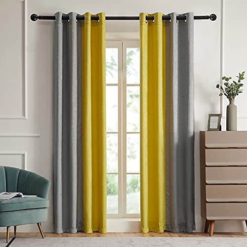 Blackout Curtains for Living Room Thermal Insulated Room Darkening Curtains Window Drapes for Bedroom Grommet Grey Yellow 84 inch Long 2 Panels