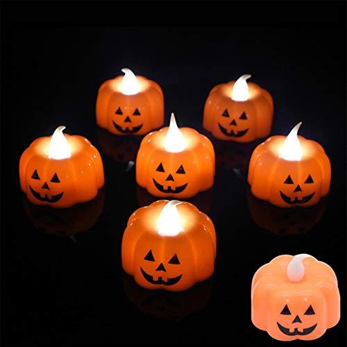 PJF 6Pcs Zucca HA Condotto LA Luce Decorazione di Halloween Ornamento Sfarfallio Senza Fiamma Lampada a Candela Festival Party Bar Decor, N01