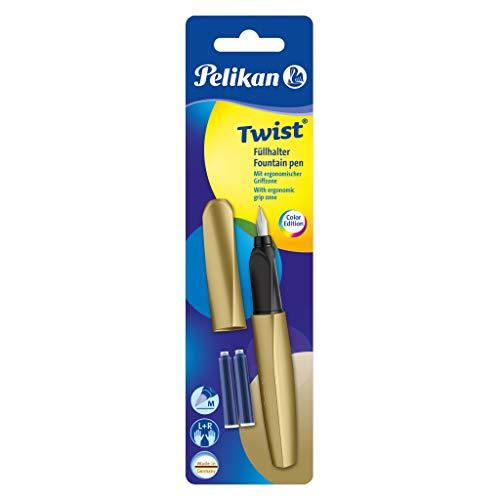 Pelikan 811408 Twist Füllhalter (Universell für Rechts- und Linkshänder), Pure Gold, 1 Füllhalter und 2 Tintenpatronen