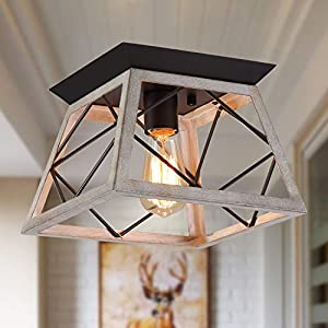 Q&S Rustic Farmhouse Ceiling Light Fixture Flush Mount,Vintage Ceiling Lights,White Ceiling Lights for Hallway Entryway Kitchen Dining Room Bedroom,Wrought Iron Oak White and ORB Finish,1 Light E26