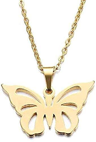 LKLFC Collar Mujer Collar Hombre Collar para Mujer Hombre Amante Hueco Mariposa Colgante Collar Compromiso Acero Inoxidable Regalo niñas niños Collar