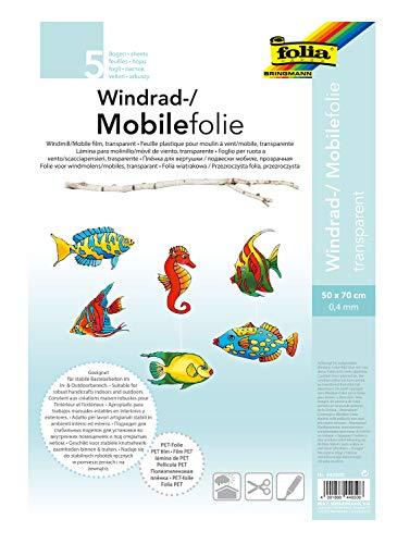 folia 440500 - Mobilefolie, Windradfolie, PVC, transparent, 0,4 mm, 50 x 70 cm, 5 Bogen - zum Basteln von Mobiles oder Windrädern