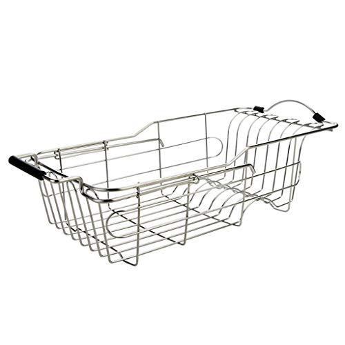 WHL Tableware Drainers Kitchen Stainless Steel Sink Drain Rack Retractable shelves Dishwashing Dish Basket Kitchen Storage Rack
