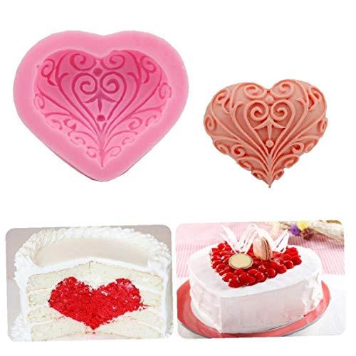 3D-silikon-liebesherzform Kuchen-Form-backen-gebäck-Form-schokoladenmousse Jelly Bread Mold Pikante Kuchen Pan Zufällige Farbe