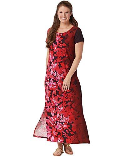 Bob Mackie Womens Plus Ombre Floral Knit Maxi Dress 3X Red A349669