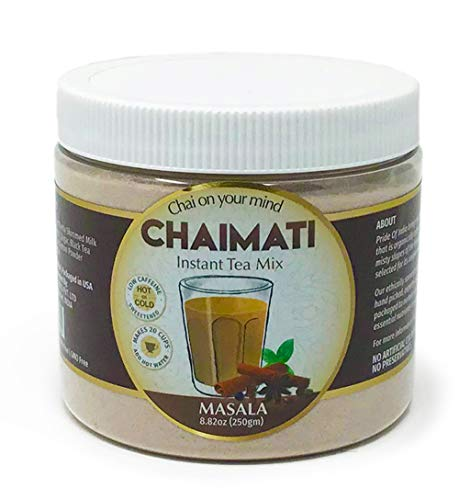 El orgullo de la India Masala chai latte polvo de té instantáneo premezcla, 8,82 onzas (250 gramos) jarra (hace 20 tazas)