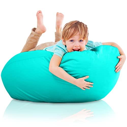 Funda de Puff Infantiles sin Relleno - Sillon Infantil XXL para Decoracion Habitacion Niña - Silla, Sofa o Puf Gigante Bebe Turquesa - Originales Regalos para Niños de 6 a 12 Años