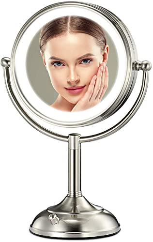 """Professional 8.5"""" Lighted Makeup Mirror with 3 Color Lighting Modes, 1X/10X Magnifying Swivel Vanity Mirror with 32 LED Lights, Senior Pearl Nickel Cosmetic Mirror, Brightness Adjustable(0-1100Lux)"""
