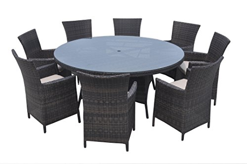 Sanfant Outdoor Patio Dining Sets All Weather Wicker Round Dinner Table and Chairs for Garden Mix Brown (9 PCS/8 Seats)