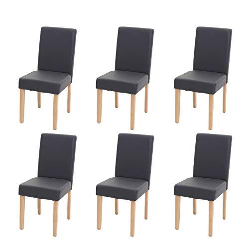 Mendler 6X Esszimmerstuhl Stuhl Küchenstuhl Littau ~ Kunstleder, grau matt, helle Beine