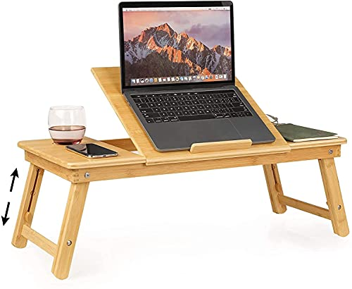 Mesa Ordenador Portátil Soporte de Portátil Mesa Cama Plegable Ajustable para para Desayuno Sofá Lectura y Escritura Bambú 72x35x(25-36) cm