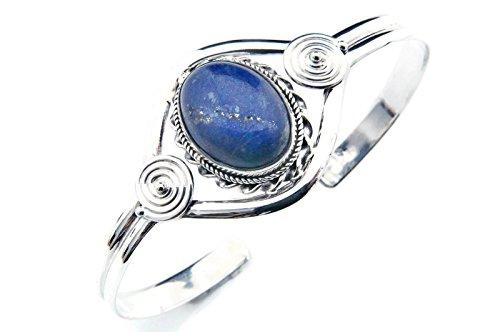 Lapis Lazuli Armreif 925 Sterlingsilber Armband Armspange blau (MAR 03-06)
