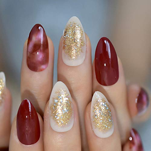 Faux ongles Glitter Beige Presse sur les ongles Faux ongles moyens Mélanger Red Marble Lady Conseils Ongles EchiQ