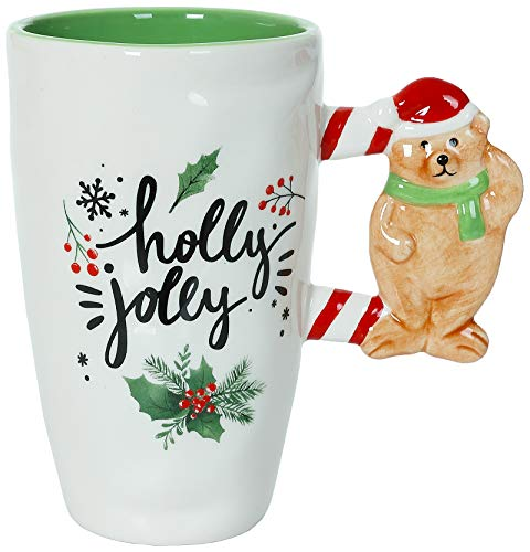 Holly Jolly - Christmas Themed Ceramic Glossy 17 oz Mug With Large Bear Handle (Microwave and Dishwasher Safe)