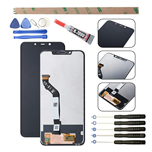 YWL-OU - Pantalla de repuesto para Xiaomi Pocophone F1 LCD con digitalizador de pantalla táctil + con juego de herramientas (negro)