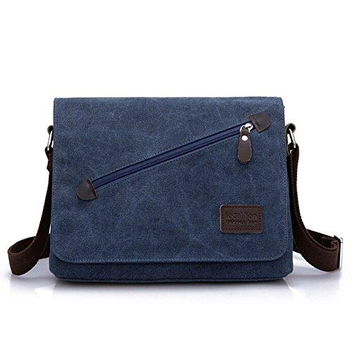 Aidonger Uomo Vintage Retro Borsa a tracolla Messenger Bag (Blu)
