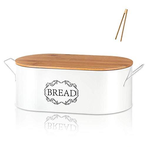 Coralov Brotkasten Brotdose Brotbox aus Metall mit Bambus Deckel und Toasterzangen Brotdose, Brotbox mit Luftzirkulation für langanhaltende Frische 40 x18 x12cm