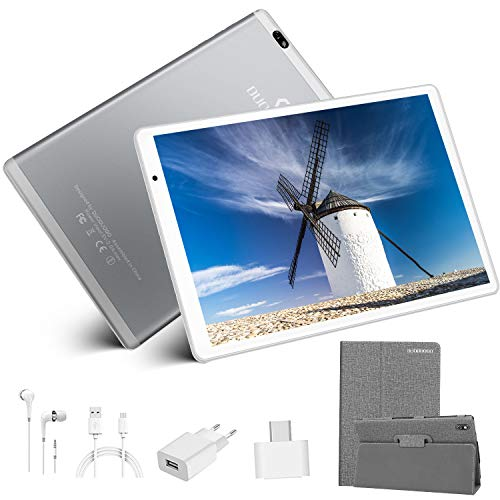 Tablet 10,1 Zoll mit WiFi Angeboten 4G, Tablet PC Angeboten 10.1 Zoll 4G Dual SIM Arbeitsspeicher 4GB 64GB ROM GMS Zertifizierung Tablet Android 9.0 Quad-Core 8MP Tablet Tagesangebot (Silber)