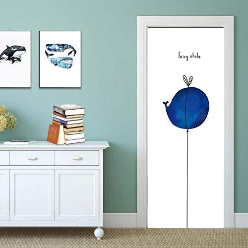 DFKJ 3D-Türdekorationsaufkleber wasserdichtes Türwandbild Selbstklebende DIY-Dekorationsabziehbilder Badezimmer Schlafzimmer A15 77x200cm
