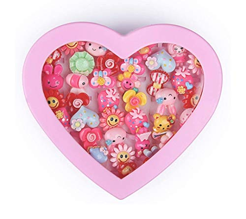 Vikas gift gallery Kids Girls Cartoon Pretend Play Toy Fancy 36 Finger Ring for Birthday Gifts Comes in Pink Heart Shape Box...