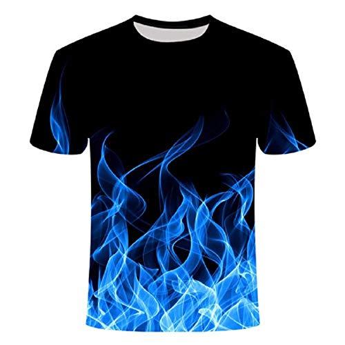 Wijider Chemise Manche Courte Homme,Unisex Shirt - Men's Summer 3D Printed Blue Fire Pattern Short Sleeve Summer Breathable Tee Shirt-XXXXL