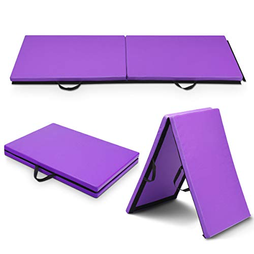 Goplus Tappetino da Yoga/Fitness materassino per Ginnastica a 4 sezioni con Velcro, Manico Portatile e Pieghevole Spesso 5cm Nero e Fucsia 180x60x3,8cm(Viola)