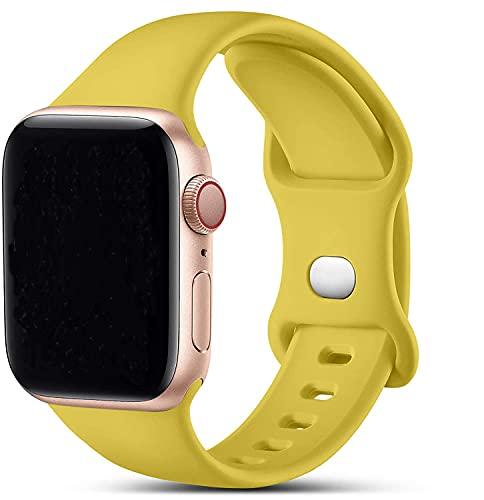 VIKATech Compatible con Apple Watch Correa 44mm 42mm, Deportivas de Silicona Correas de Repuesto Compatible con iWatch Series 6/SE/5/4/3/2/1(42mm/44mm M/L, Yellow)