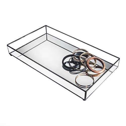 Mirrored Glass Tray Decorative Bathroom Vanity Cosmetic Makeup Organizer Jewelry Display Perfume Holder Dresser Home Décor Candle Tray J Devlin Tra 108