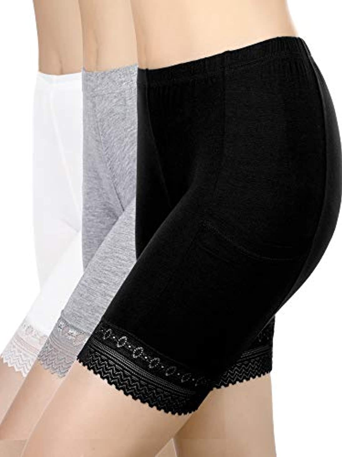 Blulu 3 Pieces Safety Pants Lace Yoga Shorts Stretch Underwear with Pockets for Women Girls Wearing Supplies