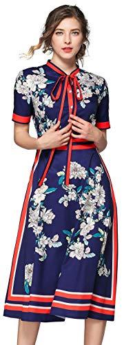 Women's Paisley/Floral Print Button up Dress Casual A-line Midi Shirt Dress