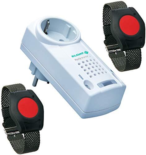 ELDAT Pflegeruf Set für Zwei: Hausnotruf mit 2X wasserdichtem Notrufarmband für die häusliche Pflege; Funk Notrufsystem mit 2X Notruf Armband mit Quittierungsfunktion; Notrufknopf für Senioren