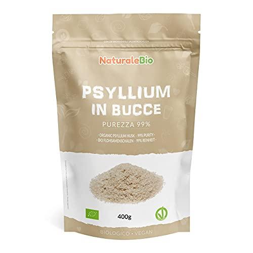 Cáscara de Psyllium Ecológico - 99% Pureza - 400g. Psyllium Husk, Natural y Puro. 100% cutícula de semillas de Psilio Orgánico, producido en India. Rico en Fibra, para añadir al Agua, Bebidas y Zumos.