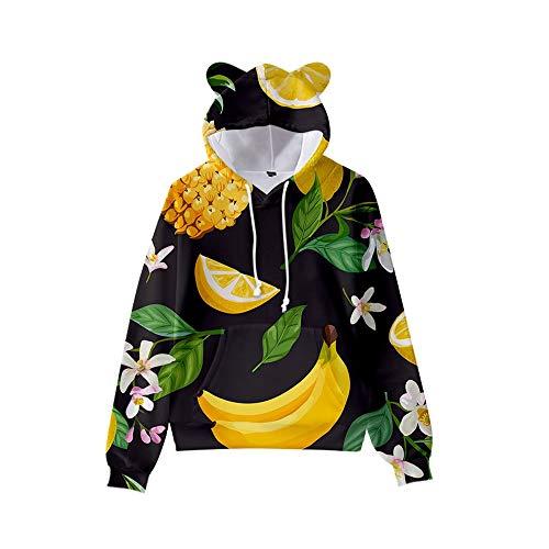 MUDRNO Hombres Niños Anime 3D Impresión Digital Ocio Suéter con Capucha Sudadera con Capucha Jersey con Estampado De Frutas Y Orejas De Gato L