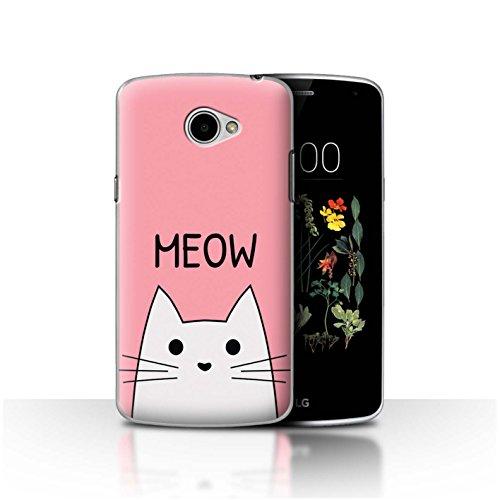 Stuff4® - Funda para teléfono móvil con diseño de Dibujos Animados Miau/Rosa LG K5/X220